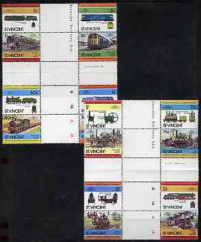 St Vincent 1984 Locomotives #2  (Leaders of the World) set of 16 in se-tenant cross-gutter block (folded through gutters) from uncut archive proof sheet (SG 792-807) some split perfs & wrinkles but a rare archive item unmounted mint