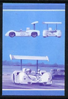 Bernera 1987 Cars \A32 (Chaparral) imperf se-tenant progressive colour proof pair in magenta & blue only unmounted mint