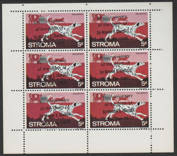 Stroma 1970 Dogs 5d (Dalmation) opt'd '6th Anniversary of Death of Sir Winston Churchill' in error, and corrected to 5th - sheetlet of 6 with original opt misplaced so that 5th does not cover 6th