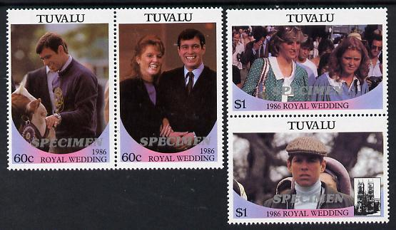 Tuvalu 1986 Royal Wedding (Andrew & Fergie) set of 4 (2 se-tenant pairs) overprinted SPECIMEN in silver (Italic caps 26.5 x 3 mm) unmounted mint SG 397-400s