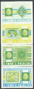 St Thomas & Prince Islands 1980 Rowland Hill set of 4, each in imperf proof singles printed in blue & yellow only, some wrinkles or soiling but attractive and most unusual