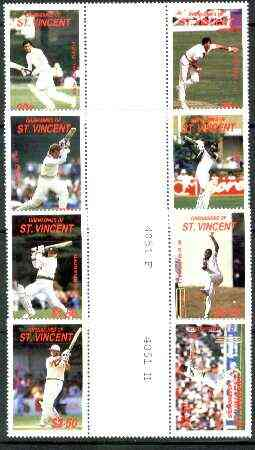 St Vincent - Grenadines 1988 Cricketers set of 8 in se-tenant gutter pairs (folded through gutters) from uncut archive proof sheets unmounted mint (SG 573-80)