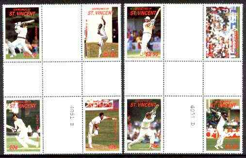 St Vincent - Grenadines 1988 Cricketers set of 8 in se-tenant cross-gutter block (folded through gutters) from uncut archive proof sheet (SG 573-80) some split perfs & wr..., stamps on cricket  sport