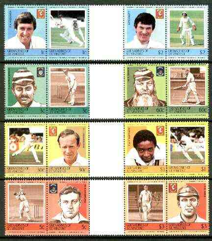 St Vincent - Grenadines 1984 Cricketers #1 (Leaders of the World) set of 16 in se-tenant gutter pairs (folded through gutters) from uncut archive proof sheets unmounted mint (SG 291-306)