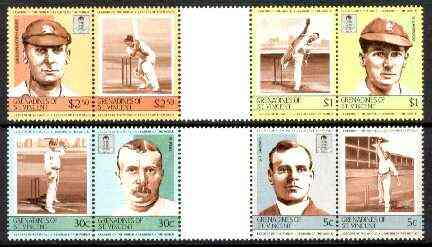 St Vincent - Grenadines 1984 Cricketers #2 (Leaders of the World) set of 8 in se-tenant gutter pairs (folded through gutters) from uncut archive proof sheets (SG 331-38) unmounted mint
