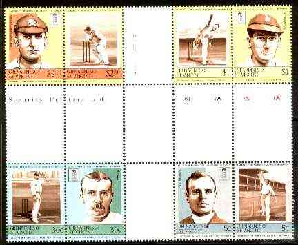 St Vincent - Grenadines 1984 Cricketers #2 (Leaders of the World) set of 8 in se-tenant cross-gutter block (folded through gutters) from uncut archive proof sheet (SG 331-38) some split perfs & wrinkles but a rare archive item unmounted mint
