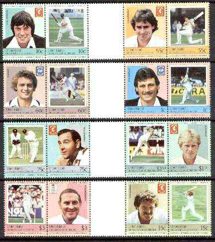 St Vincent - Union Island 1984 Cricket (Leaders of the World) set of 16 in se-tenant gutter pairs (folded through gutters) from uncut archive proof sheets unmounted mint