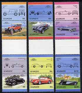 St Vincent 1986 Cars #5 (Leaders of the World) set of 12 in se-tenant gutter pairs (folded through gutters or perfs) from uncut archive proof sheets (SG 959-70) unmounted mint