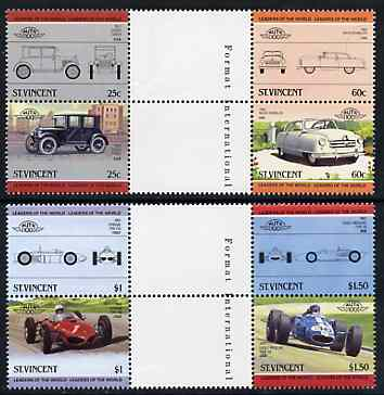 St Vincent 1985 Cars #4 (Leaders of the World) set of 8 in se-tenant gutter pairs (folded through gutters or perfs) from uncut archive proof sheets unmounted mint (SG 884-91)