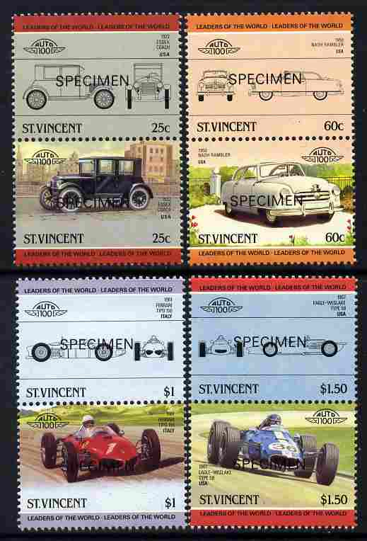 St Vincent 1985 Cars #4 (Leaders of the World) set of 8 opt'd SPECIMEN (SG 884-91) unmounted mint