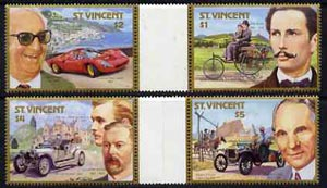 St Vincent 1987 Centenary of Motoring (with Designers) set of 4 in se-tenant gutter pairs (folded through gutters) from uncut archive proof sheets unmounted mint (SG 1085-88)