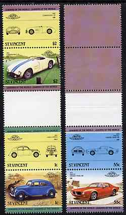 St Vincent 1985 Cars #3 (Leaders of the World) set of 6 (plus coloured labels) in se-tenant gutter pairs (folded through gutters or perfs) from uncut archive proof sheets...