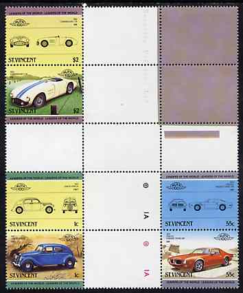 St Vincent 1985 Cars #3 (Leaders of the World) set of 6 (plus coloured labels) in se-tenant cross-gutter block (folded through gutters or perfs) from uncut archive proof sheet (SG 862-67) some split perfs & wrinkles but a rare archive item unmounted mint