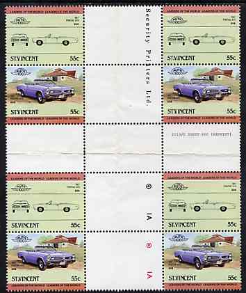 St Vincent 1984 Cars #2 (Leaders of the World) 55c (1967 Pontiac) in se-tenant cross-gutter block (folded through gutters) from uncut archive proof sheet, some split perfs & wrinkles but a rare archive item, SG 824a unmounted mint