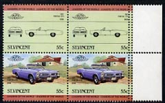St Vincent 1984 Cars #2 (Leaders of the World) 55c (1967 Pontiac) se-tenant block (2 se-tenant pairs) with double perfs at right unmounted mint SG 824avar