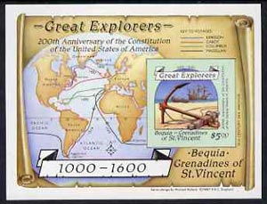 St Vincent - Bequia 1988 Explorers $5 m/sheet (Map & Anchor) unmounted mint imperf.