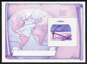 St Vincent - Bequia 1988 Explorers $5 m/sheet (Map & Anchor) imperf progressive proof in magenta & blue only unmounted mint.