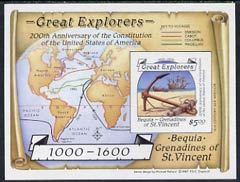 St Vincent - Bequia 1988 Explorers $5 m/sheet (Map & Anchor) imperf progressive proof in magenta, blue, yellow & black (pale green border omitted) unmounted mint.