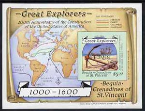 St Vincent - Bequia 1988 Explorers $5 m/sheet (Map & Anchor) imperf opt'd SPECIMEN unmounted mint.