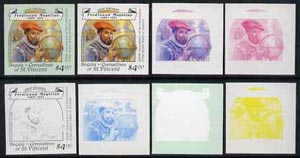 St Vincent - Bequia 1988 Explorers $4 (Ferdinand Magellan) set of 8 unmounted mint imperf progressive proofs comprising the 5 individual colours, plus 2, 4 and all 5-colour composites*.