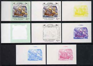 St Vincent - Bequia 1988 Explorers $2.50 (Magellan's ship The Trinidad) set of 8 unmounted mint imperf progressive proofs comprising the 5 individual colours, plus 2, 4 and all 5-colour composites*.