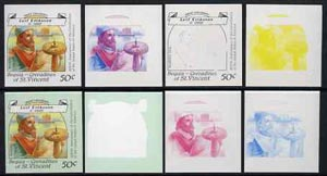 St Vincent - Bequia 1988 Explorers 50c (Leif Eriksson) set of 8 unmounted mint imperf progressive proofs comprising the 5 individual colours, plus 2, 4 and all 5-colour composites*.