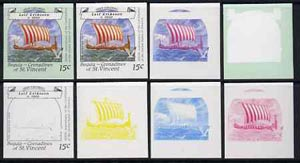 St Vincent - Bequia 1988 Explorers 15c (Eriksson's The Gokstad Ship) set of 8 unmounted mint imperf progressive proofs comprising the 5 individual colours, plus 2, 4 and all 5-colour composites*.