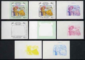 St Vincent - Bequia 1988 Explorers $2.00 (John Cabot) set of 8 unmounted mint imperf progressive proofs comprising the 5 individual colours, plus 2, 4 and all 5-colour composites*.
