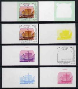 St Vincent - Bequia 1988 Explorers $1.75 (Cabot's The Matthew) set of 8 unmounted mint imperf progressive proofs comprising the 5 individual colours, plus 2, 4 and all 5-colour composites*.