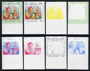 St Vincent - Bequia 1988 Explorers $3.00 (Christopher Columbus & Arms) set of 8 imperf progressive proofs comprising the 5 individual colours, plus 2, 4 and all 5-colour composites, unmounted mint*.