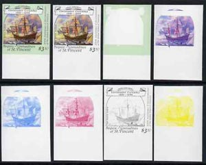St Vincent - Bequia 1988 Explorers $3.50 (Columbus's Santa Maria) set of 8 imperf progressive proofs comprising the 5 individual colours, plus 2, 4 and all 5-colour composites, unmounted mint*.