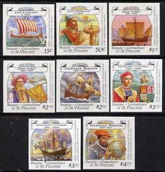 St Vincent - Bequia 1988 Explorers set of 8 unmounted mint imperf progressive proofs in magenta, blue, yellow & black (pale green border omitted) (8 proofs)*.
