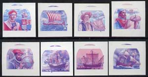 St Vincent - Bequia 1988 Explorers set of 8 unmounted mint imperf progressive proofs in magenta & blue only (8 proofs)*.