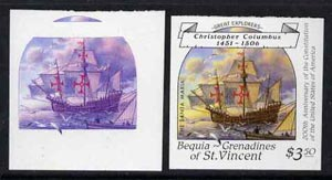 St Vincent - Bequia 1988 Explorers $3.50 (Columbus's Santa Maria) unmounted mint imperf progressive proofs in magenta & blue, and magenta, blue, yellow & black (2 proofs)*.