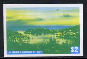 Grenada 1975 St George's Harbour $2 imperf progressive colour proof printed in blue & yellow only (as SG 665) unmounted mint