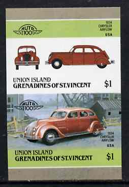 St Vincent - Union Island 1986 Cars #4 (Leaders of the World) $1 (1934 Chrysler) imperf se-tenant pair unmounted mint*