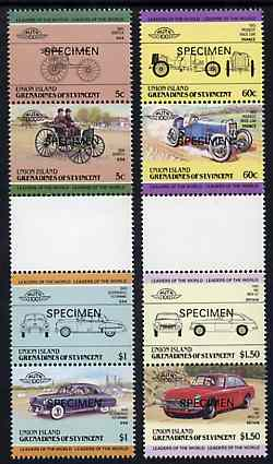 St Vincent - Union Island 1985 Cars #2 (Leaders of the World) set of 8 opt'd SPECIMEN unmounted mint