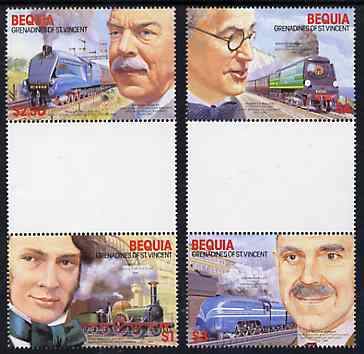St Vincent - Bequia 1986 Locomotives & Engineers (Leaders of the World) set of 4 se-tenant gutter pairs (folded through gutters or perfs) from uncut archive proof sheets unmounted mint