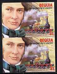 St Vincent - Bequia 1986 Locomotives & Engineers (Leaders of the World) $1.00 (Sir Daniel Gooch & Firefly) imperf pair unmounted mint*