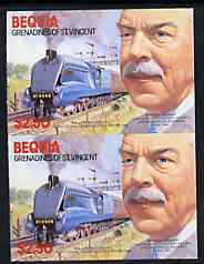 St Vincent - Bequia 1986 Locomotives & Engineers (Leaders of the World) $2.50 (Sir Nigel Gresley & Mallard) imperf pair  unmounted mint*
