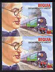 St Vincent - Bequia 1986 Locomotives & Engineers (Leaders of the World) $4.00 (Oliver Bullied & Battle of Britain Class) imperf pair unmounted mint*