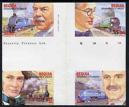 St Vincent - Bequia 1986 Locomotives & Engineers (Leaders of the World) set of 4 in imperf se-tenant cross-gutter block (folded through gutter) from uncut archive proof sheet, a rare archive item unmounted mint