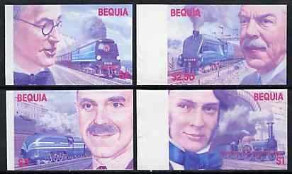 St Vincent - Bequia 1986 Locomotives & Engineers (Leaders of the World) set of 4 in imperf progressive proofs in magenta & blue only (4 proofs) unmounted mint