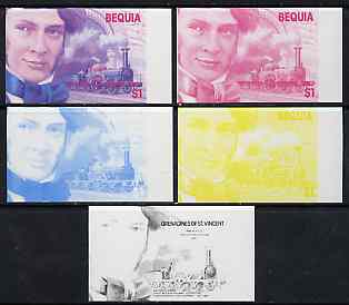 St Vincent - Bequia 1986 Locomotives & Engineers (Leaders of the World) $1.00 (Sir Daniel Gooch & Firefly) set of 5 imperf progressive proofs comprising the 4 individual colours plus blue & magenta composite* unmounted mint