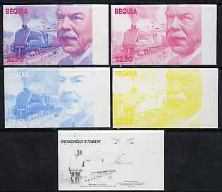 St Vincent - Bequia 1986 Locomotives & Engineers (Leaders of the World) $2.50 (Sir Nigel Gresley & Mallard) set of 5 imperf progressive proofs comprising the 4 individual colours plus blue & magenta composite* unmounted mint