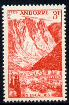 Andorra - French 1955-58 Les Escaldes 3f scarlet unmounted mint SG F146