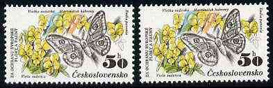 Czechoslovakia 1983 Emperor Moth & Viola Flower 50h value from Nature Protection set unmounted mint, SG 2674, Mi 2711*