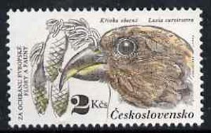 Czechoslovakia 1983 Red Crossbill 2k value from Nature Protection set unmounted mint, SG 2676, Mi 2713*