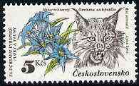 Czechoslovakia 1983 Gentiana & Lynx 5k value from Nature Protection set unmounted mint, SG 2678, Mi 2715*