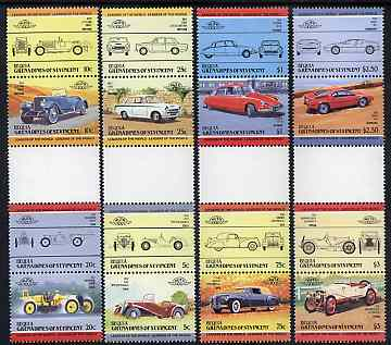 St Vincent - Bequia 1984 Cars #2 (Leaders of the World) set of 16 in se-tenant gutter pairs (folded through gutters or perfs) from uncut archive proof sheet unmounted mint